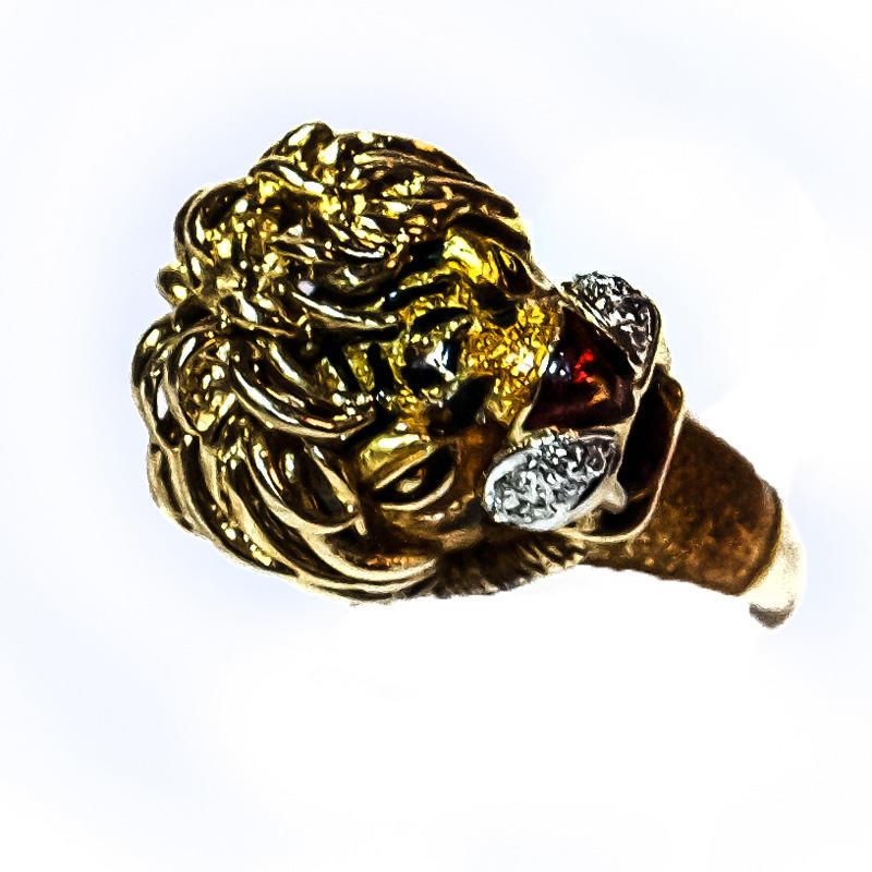 Gold Tiger Head Ring